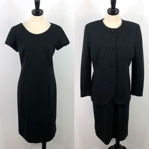 Tanner Vintage 90s Black Sheath Dress Jacket Set